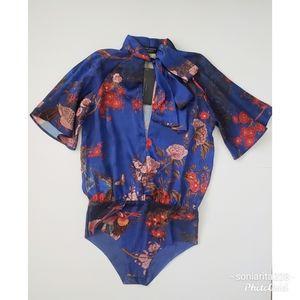 NWT Zara Blue Floral Oriental Bodysuit sz S